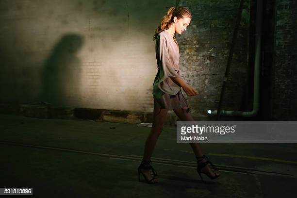 A model prepares backstage ahead of the Bec Bridge show at MercedesBenz Fashion Week Resort 17 Collections at Carriageworks on May 17 2016 in Sydney...
