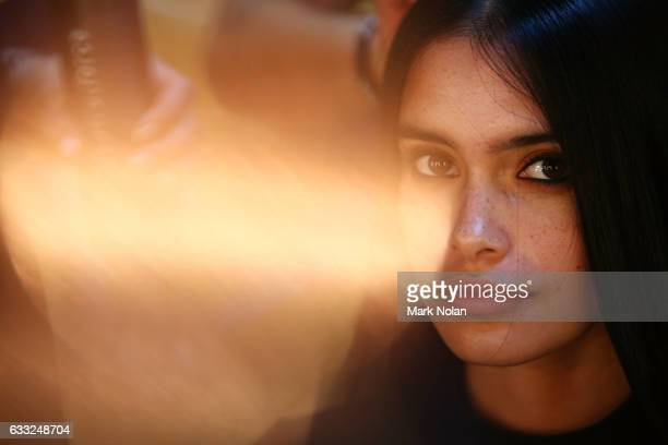 A model prepares backstage ahead of the David Jones Autumn Winter 2017 Collections Launch at St Mary's Cathedral Precinct on February 1 2017 in...