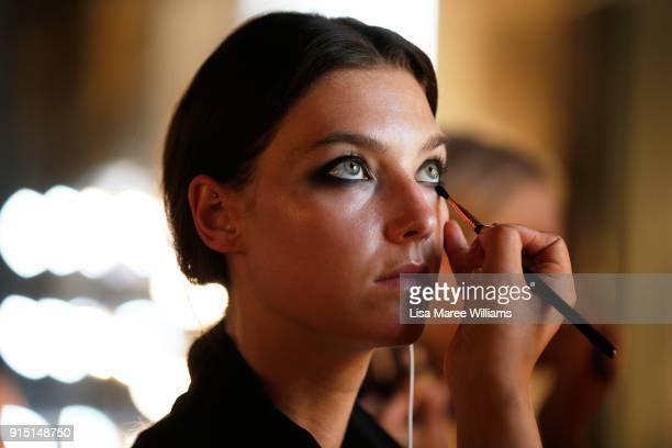 A model prepares backstage ahead of the David Jones Autumn Winter 2018 Collections Launch at Australian Technology Park on February 7 2018 in Sydney...