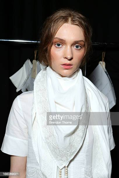 A model prepares backstage ahead of the Flannel show during MercedesBenz Fashion Week Australia Spring/Summer 2013/14 at Carriageworks on April 9...