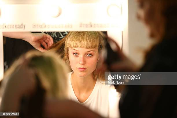 A model prepares backstage ahead of the Gail Sorronda show at MercedesBenz Fashion Week Australia 2015 at Carriageworks on April 16 2015 in Sydney...