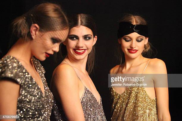 A model prepares backstage ahead of the Johanna Johnson Presented By Capitol Grand show at MercedesBenz Fashion Week Australia 2015 at Carriageworks...
