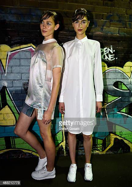 A model prepares backstage ahead of the Karla Spetic show at MercedesBenz Fashion Week Australia 2014 at the National Centre of Indegenous Excellence...