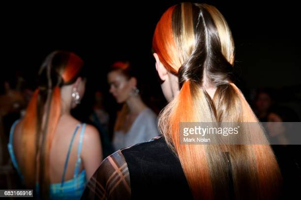 A model prepares backstage ahead of the Karla Spetic show at MercedesBenz Fashion Week Resort 18 Collections at Carriageworks on May 15 2017 in...
