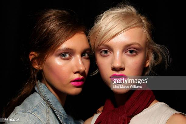 A model prepares backstage ahead of the Kate Sylvester show during MercedesBenz Fashion Week Australia Spring/Summer 2013/14 at Carriageworks on...