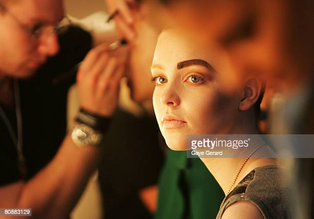 Model prepares backstage ahead of the Kirrily Johnston show on the first day of the Rosemount Australian Fashion Week Spring/Summer 2008/09...