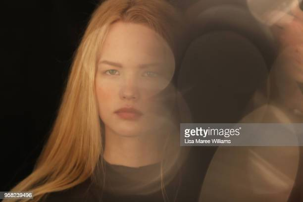 A model prepares backstage ahead of the Lee Mathews show at MercedesBenz Fashion Week Resort 19 Collections at Carriageworks on May 14 2018 in Sydney...