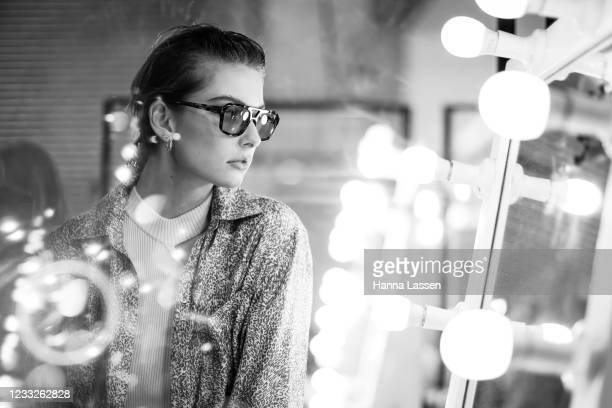 Model prepares backstage ahead of the Manning Cartell show during Afterpay Australian Fashion Week 2021 Resort '22 Collections at Carriageworks on...