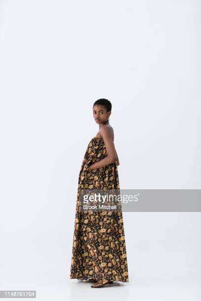 A model prepares backstage ahead of the Matteau show at MercedesBenz Fashion Week Resort 20 Collections at Baker Street Studios on May 13 2019 in...