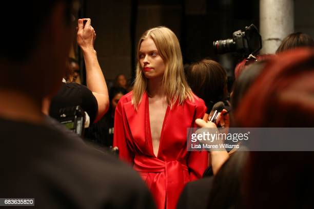 A model prepares backstage ahead of the Michael Lo Sordo show at MercedesBenz Fashion Week Resort 18 Collections at Carriageworks on May 16 2017 in...