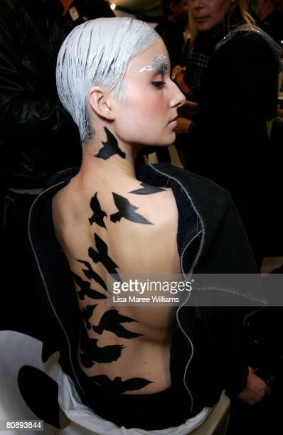 A model prepares backstage ahead of the Michelle Jank show on the first day of the Rosemount Australian Fashion Week Spring/Summer 2008/09...