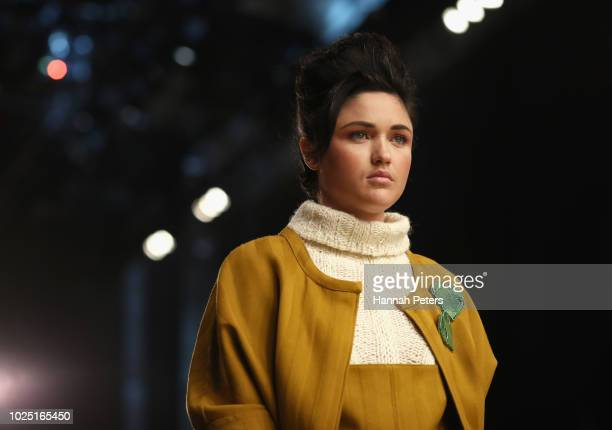 A model prepares backstage ahead of the Miromoda Showcase show during New Zealand Fashion Week 2018 at Viaduct Events Centre on August 30 2018 in...