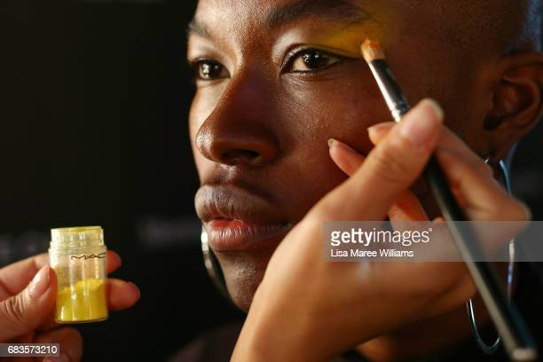 A model prepares backstage ahead of the Pageant show at MercedesBenz Fashion Week Resort 18 Collections at Carriageworks on May 16 2017 in Sydney...