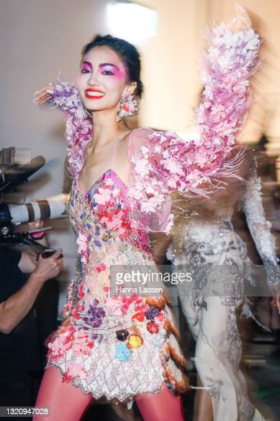 Model prepares backstage ahead of the Romance Was Born show during Afterpay Fashion Week Australia Resort 22 Collections at Carriageworks on May 31,...