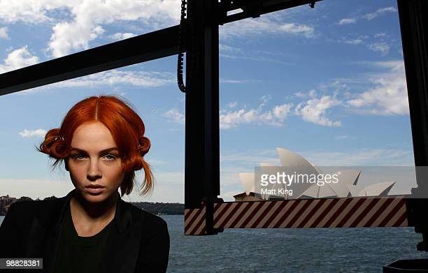 Model prepares backstage ahead of the Sabatini White collection show on the second day of Rosemount Australian Fashion Week Spring/Summer 2010/11 at...