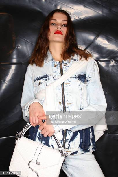 Model prepares backstage ahead of the Stolen Girlfriends Club show during New Zealand Fashion Week 2019 at Avondale Racecourse on August 28, 2019 in...