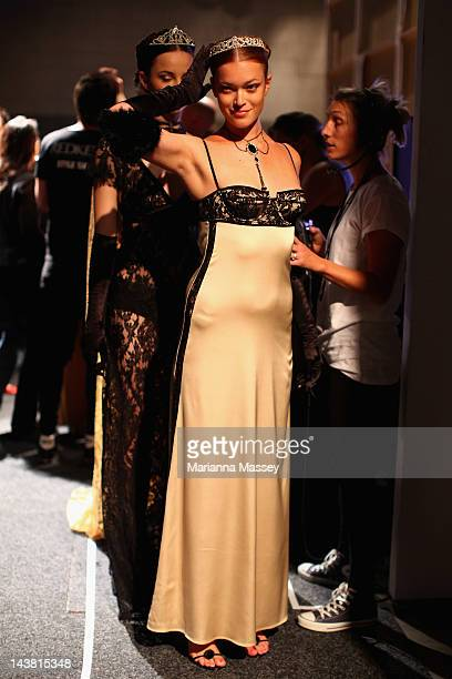 A model prepares backstage ahead of the Style Hong Kong show on day five of MercedesBenz Fashion Week Australia Spring/Summer 2012/13 at the Overseas...