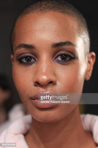 A model prepares backstage ahead of the Swim show at MercedesBenz Fashion Week Resort 19 Collections at Carriageworks on May 14 2018 in Sydney...