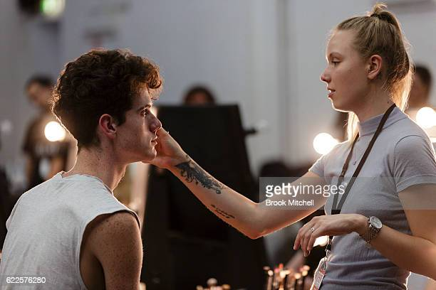 A model prepares backstage ahead of the the Faith Connection Runway Show for MADE Sydney at Carriageworks on November 12 2016 in Sydney Australia