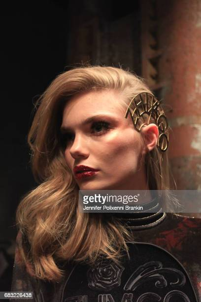 Model prepares backstage ahead of the ZHIVAGO show at Mercedes-Benz Fashion Week Resort 18 Collections at Carriageworks on May 15, 2017 in Sydney,...