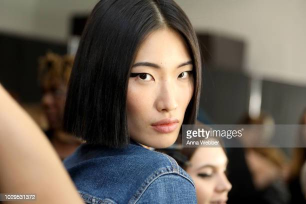 A model prepares backstage at the Academy Of Art University Spring/Fall 2019 Collections during New York Fashion at Pier 59 Studios on September 8...