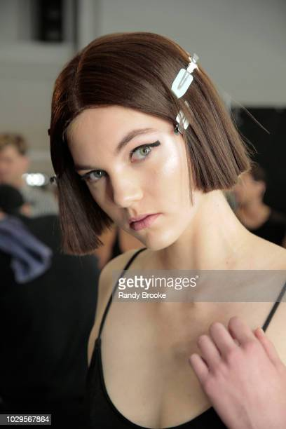 A model prepares backstage at the Academy Of Art University Spring/Fall 2019 Collections during New York Fashion Week at Pier 59 Studios on September...