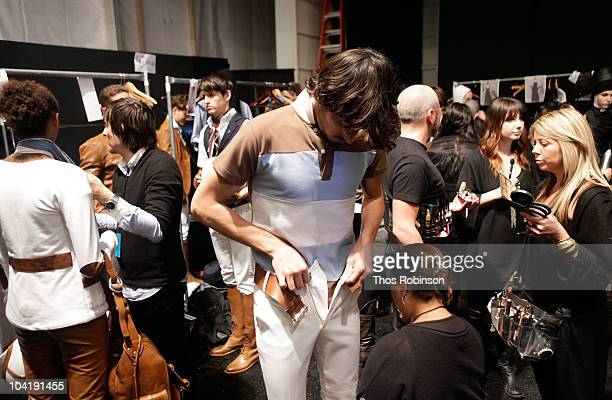 A model prepares backstage at the Argentina Group Show Spring 2011 fashion show during MercedesBenz Fashion Week at The Stage at Lincoln Center on...