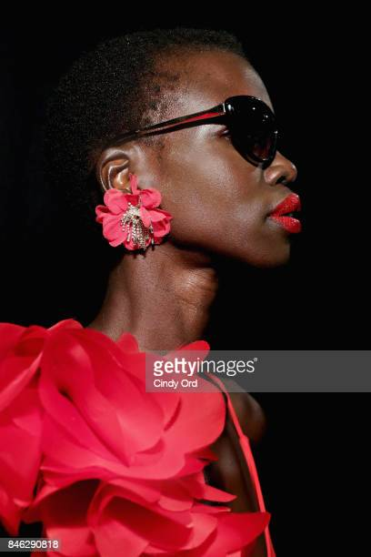 A model prepares backstage at the Badgley Mischka fashion show during September 2017 New York Fashion Week The Shows at Gallery 1 Skylight Clarkson...