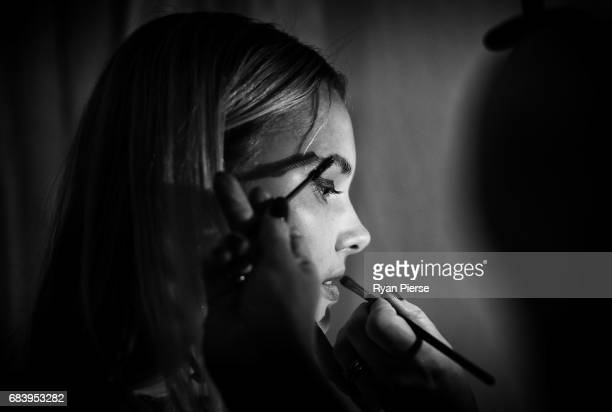 A model prepares backstage at the Bec Bridge show at MercedesBenz Fashion Week Resort 18 Collections at Carriageworks on May 16 2017 in Sydney...