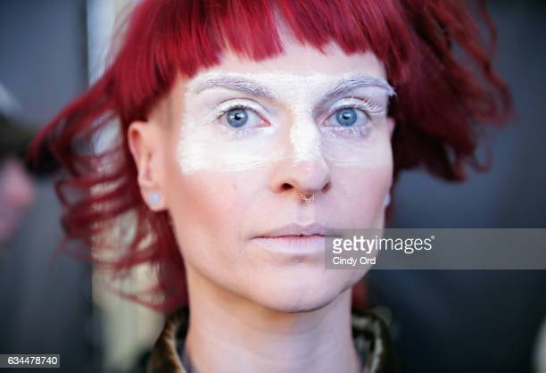 A model prepares backstage at the Berenik Presentation during New York Fashion Week on February 9 2017 in New York City