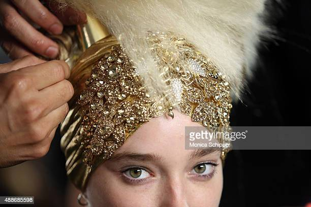 Model prepares backstage at The Blonds fashion show during Spring 2016 MADE Fashion Week at Milk Studios on September 16, 2015 in New York City.