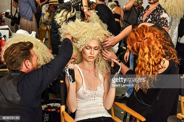 A model prepares backstage at The Blonds Spring/Summer 2017 Show on September 11 2016 in New York City