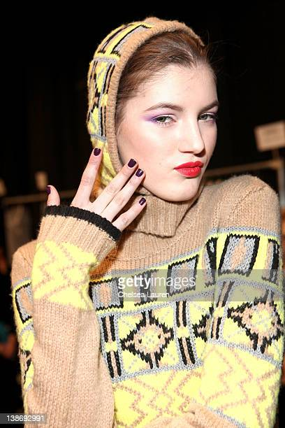 A model prepares backstage at the Charlotte Ronson Fall 2012 fashion show during MercedesBenz Fashion Week at The Stage at Lincoln Center on February...