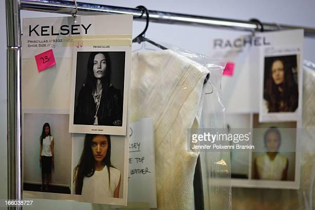 A model prepares backstage at the Christopher Esber show during MercedesBenz Fashion Week Australia Spring/Summer 2013/14 at 10 Carrington Rd...