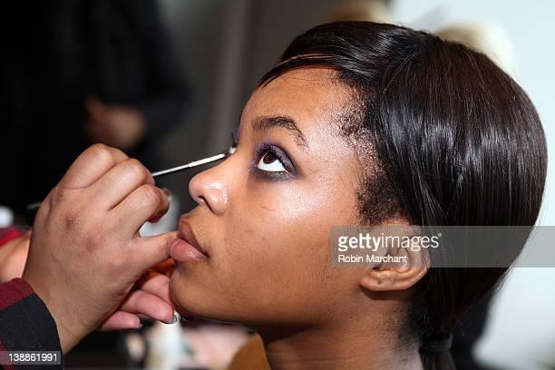 A model prepares backstage at the Czar by Cesar Galindo fall 2012 presentation during MercedesBenz Fashion Week at Doyho Restaurant at Yotel on...