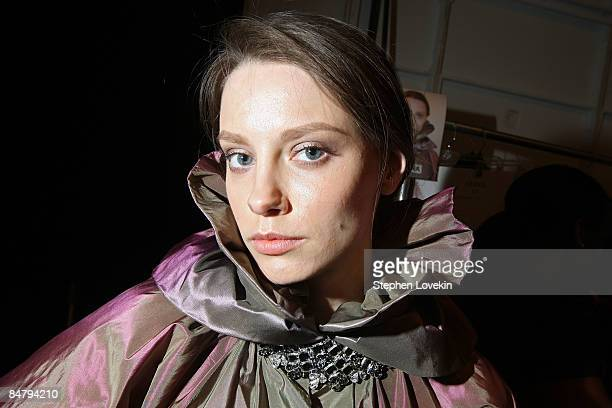 A model prepares backstage at the Edition By Georges Chakra Fall 2009 fashion show during MercedesBenz Fashion Week in the Promenade at Bryant Park...