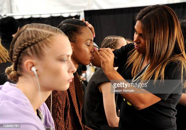A model prepares backstage at the Irina Shabayeva Fall 2011 fashion show during MercedesBenz Fashion Week at The Studio at Lincoln Center on February...