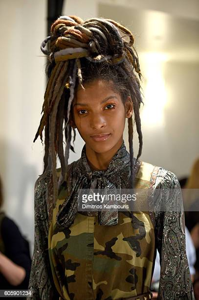 A model prepares backstage at the Marc Jacobs Spring 2017 fashion show during New York Fashion Week at the Hammerstein Ballroom on September 15 2016...
