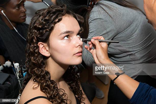 A model prepares backstage at the Rachel Comey fashion show during New York Fashion Week September 2016 on September 7 2016 in New York City