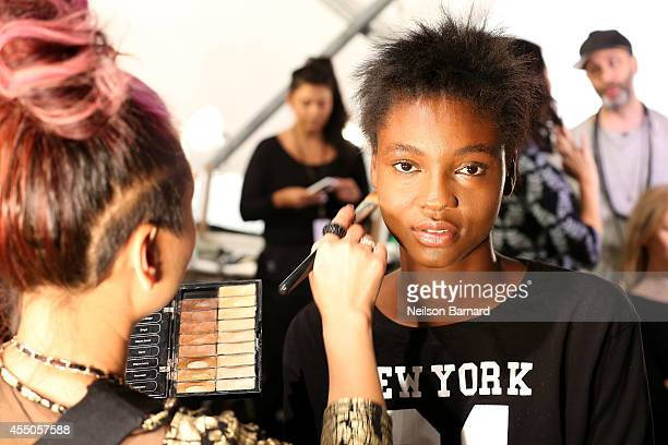 Model prepares backstage at the Skingraft fashion show during Mercedes-Benz Fashion Week Spring 2015 at The Pavilion at Lincoln Center on September...