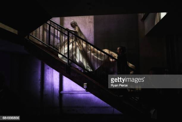 A model prepares backstage at the Steven Kahlil show at the during MercedesBenz Fashion Week Resort 18 Collections at Carriageworks on May 15 2017 in...