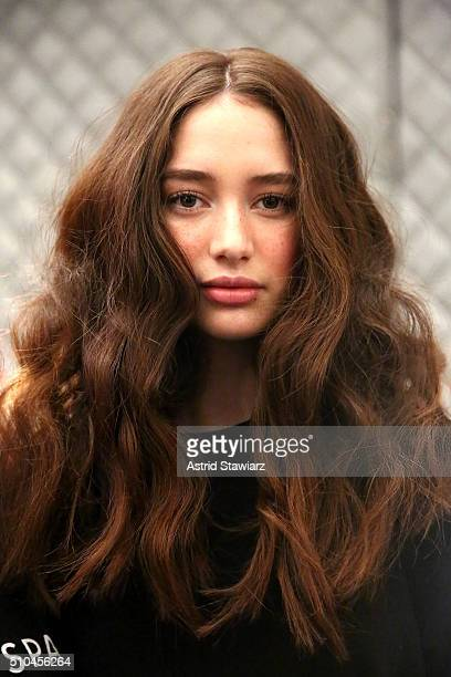 A model prepares backstage at the Vivienne Tam Fall 2016 fashion show during New York Fashion Week The Shows at The Arc Skylight at Moynihan Station...