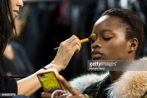 A model prepares backstage before the Akris show at Palais de Tokyo as part of the Paris Fashion Week Womenswear Fall/Winter 2017/2018 on March 5...