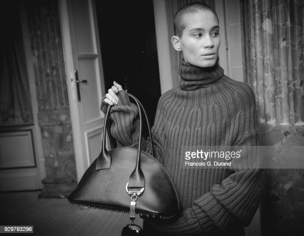 A model prepares backstage before the Beautiful People show as part of the Paris Fashion Week Womenswear Fall/Winter 2018/2019 on March 6 2018 in...