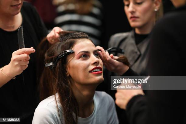 A model prepares backstage before the Bibhu Mohapatra fashion show with Narayan Jewellers in association with ForeverMark Diamonds at Skylight...