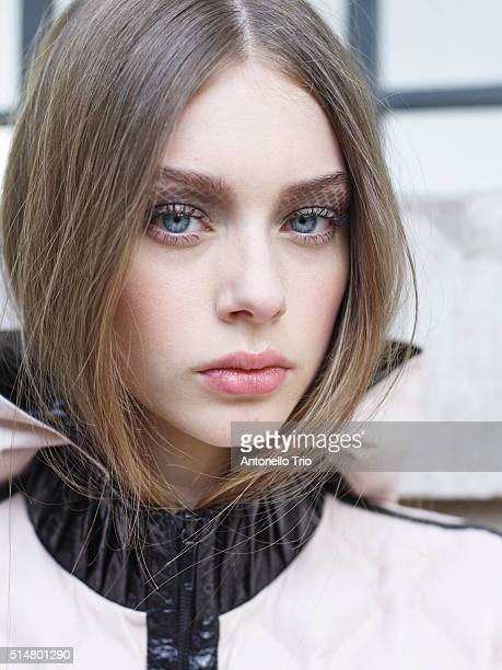 A model prepares backstage before the Chanel show as part of the Paris Fashion Week Womenswear Fall/Winter 2016/2017 on March 8 2016 in Paris France