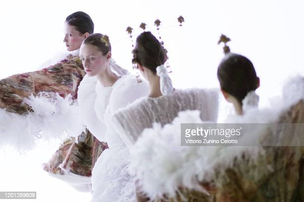 Model prepares backstage before the Guo Pei Haute Couture Spring/Summer 2020 show as part of Paris Fashion Week on January 22, 2020 in Paris, France.