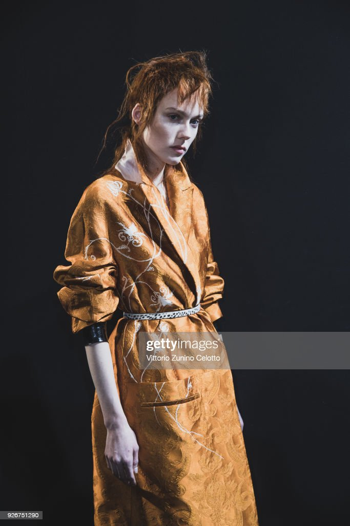 A model prepares backstage before the Haider Ackermann show as part of the Paris Fashion Week Womenswear Fall/Winter 2018/2019 on March 3, 2018 in Paris, France.