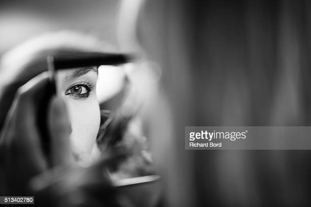 Model prepares backstage before the H&M show as part of the Paris Fashion Week Womenswear Fall/Winter 2016/2017 on March 2, 2016 in Paris, France.