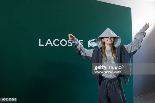 A model prepares backstage before the Lacoste show as part of the Paris Fashion Week Womenswear Fall/Winter 2018/2019 on February 28 2018 in Paris...